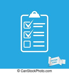 white check list icon on a blue background