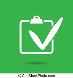 white check list icon on a green background