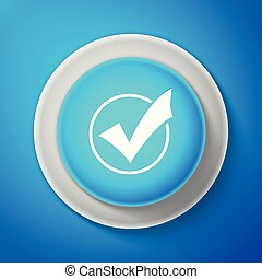 White Check mark in round icon isolated on blue background. Check list button sign. Circle blue button with white line. Vector Illustration