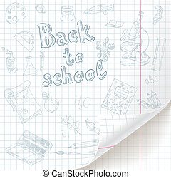 White  checkered  paper sheet  with back to school doodles and curved bottom
