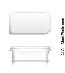 White cheese, butter or margarine container with lid mockup - front and top view. Blank plastic food package: cream, yogurt, dessert, spread. Product template. Isolated 3d vector illustration