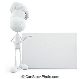 White chef character with sign board