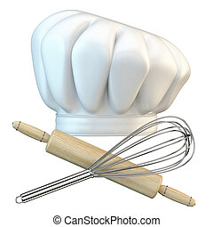 White chef hat with steel whisk and rolling pin 3D