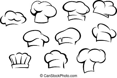 White chef hats and caps set in cartoon style