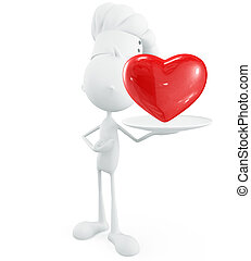 White chef with red heart