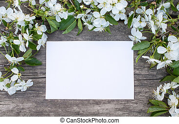 white cherry flowers on old wooden boards, cherry branch. A sheet of white paper for your text.