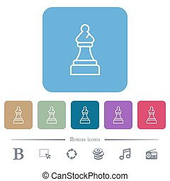 White chess bishop flat icons on color rounded square backgrounds