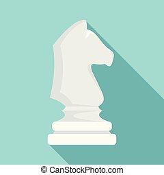 White chess horse icon, flat style