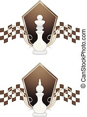 White chess king and queen. Vector illustration