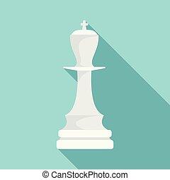 White chess king icon, flat style