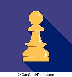 White chess pawn icon, flat style