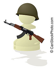 White chess pawn with a gun - Chessmen styled soldiers and...