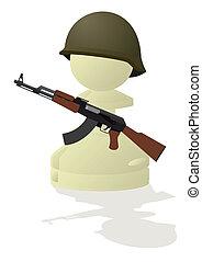 White chess pawn with a gun