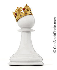 White chess pawn with golden crown. 3D illustration