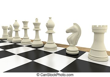 White chess pieces on board on white background