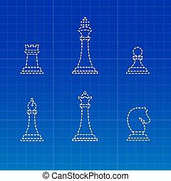 White chess pieces silhouettes