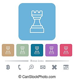 White chess rook flat icons on color rounded square backgrounds