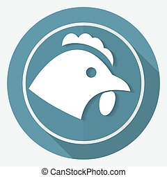 White chicken icon on circle with a long shadow