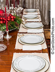 White China on Table Decorated for Christmas