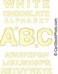 White chocolate alphabet. Vector illustration.