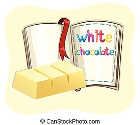 White chocolate bar and a book