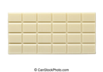 white chocolate bar, isolated on white