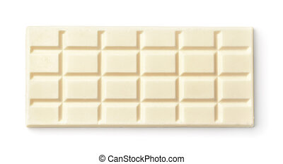 Top view of whole milk white chocolate bar isolated on white