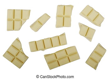 white chocolate bars isolated, with clipping path