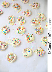 White chocolate pretzels from overhead