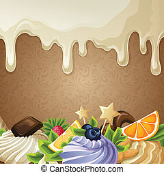 Sweets dessert background with white chocolate syrup nuts cream and decoration vector illustration