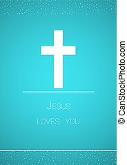 christian cross on blue background