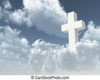 white christian cross on cloudy sky - 3d illustration