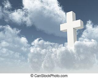 christian cross - white christian cross on cloudy sky - 3d...