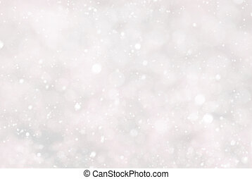 White Christmas Background With Bokeh And Pink Color,...