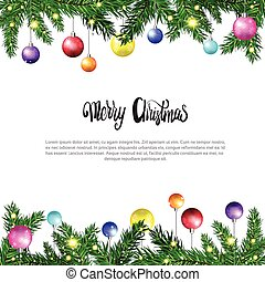 White Christmas Background With Frame From Fir Branches Decorated With Colofrul Balls Vector Illustration