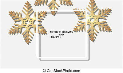 white christmas background with frame shining golden snowflakes