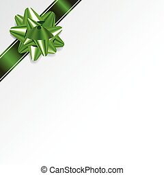 White Christmas Background with Green Bow and Ribbon