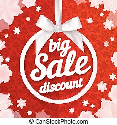 White Christmas ball frame with silky bow, discount label on red pattern background and snowflakes