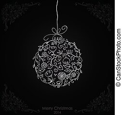 White Christmas ball on black background.