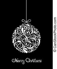 White Christmas ball on black background. Vector illustration