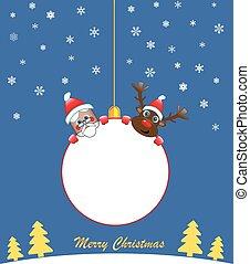 white Christmas ball with santa and