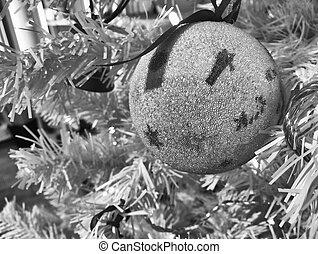 White Christmas Ball with Santa on a tree