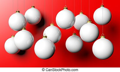 White Christmas balls, isolated on red background.