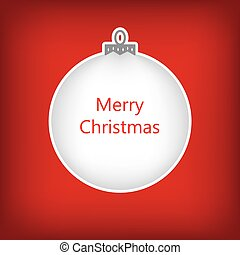 white christmas bauble with Merry Christmas text, christmas greeting card