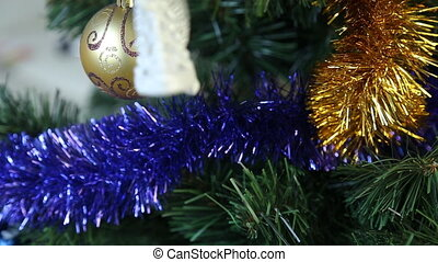 White christmas baubles hanging - Colourful christmas...
