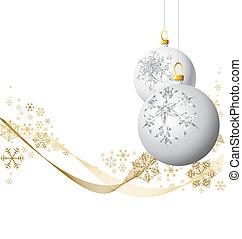 White Christmas bulbs with golden snowflakes on white...
