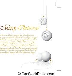 White Christmas bulbs with snowflakes