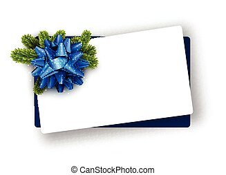 White Christmas card with blue bow.