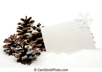 White christmas decoration with wishes card on snow with...