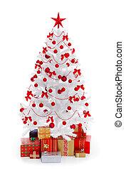 white christmas fa, noha, ajándékoz, és, piros, dekoráció
